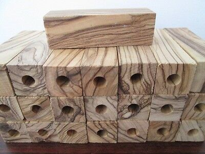 PRE-DRILLED 7MM ~ BETHLEHEM OLIVEWOOD SHORT PEN BLANKS. 2 1/2 X 3/4 X 3/4 inch