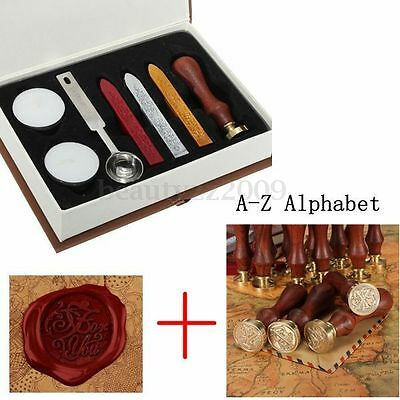 Classic 26 letter A-Z Alphabet Initial Sealing Wax Seal Stamp + For You Box Kit