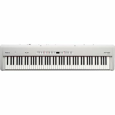 Roland FP50 (White) 88-Key Digital Piano Keyboard With Music Rest & Damper Pedal
