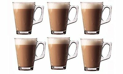 Large Set Of Tall Latte Glasses For Coffee Cappuccino Hot Chocolate 260ml Costa