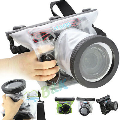 DSLR SLR Canon Nikon Camera Waterproof 20M Underwater Housing Case Bag Lens 10CM