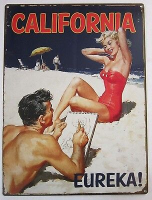 California Beach Babe Summer Swimsuit Pin Up Retro Classic Metal Sign