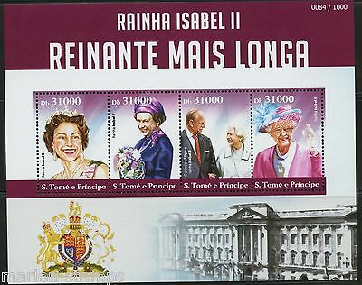 Sao Tome  2015 Queen Elizabeth Longest British Monarch Sheet  Mint Nh