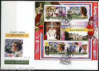 Maldives 2015 Queen Elizabeth Longest British Monarch Sheet  First Day Cover