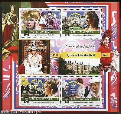 Maldives 2015 Queen Elizabeth Longest British Monarch Sheet  Mint Nh