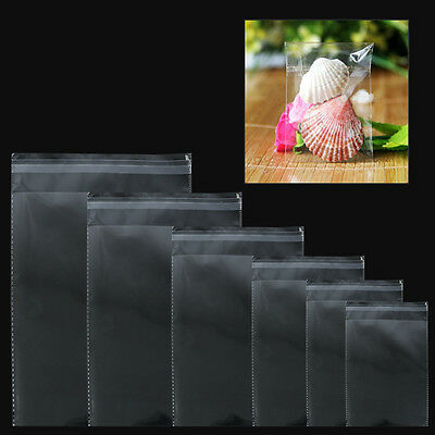 10/30/100 Self Adhesive Resealable Clear Plastic Cellophane Poly Bag Many Sizes