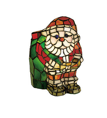 "Meyda Lighting 17241 9""H Santa Claus Tiffany Style Stained Glass Accent Lamp"