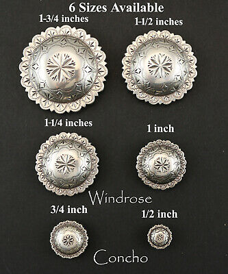 """CONCHO LOT OF 6  ANTIQUE SILVER ENGRAVED WINDROSE WESTERN CRAFT 1/2"""" to 1 3/4"""""""