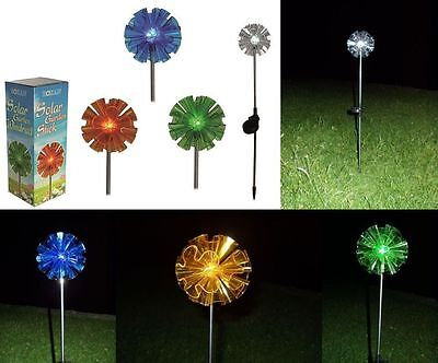 Solar LED Stainless Steel Garden Plug with cell O12x70cm blue yellow green white