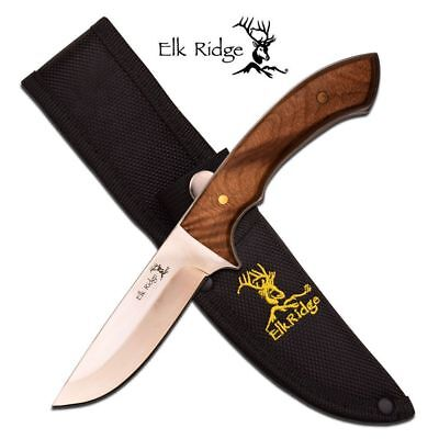 FIXED-BLADE HUNTING KNIFE | Elk Ridge Full Tang Burl Wood Skinner Mirror Blade