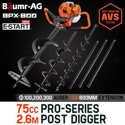 【UP TO 20%OFF】Baumr-AG Post Hole Digger 75cc Posthole Earth Auger Fence