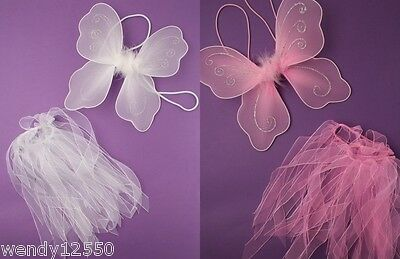 Pack Of 3 / 12 Fairy Wings & Tutu Sets, Child Size, Party, Book Day, Fancy Dress