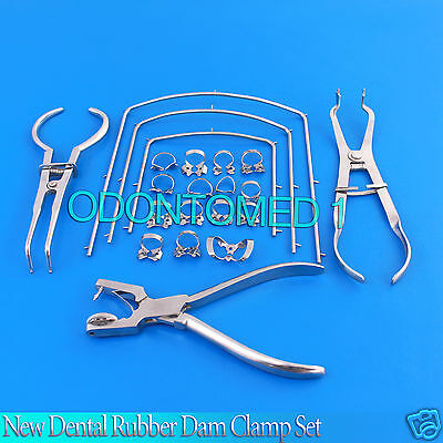 New Dental Rubber Dam Clamp Set 21 Pcs. Dentist Orthodontic Instruments