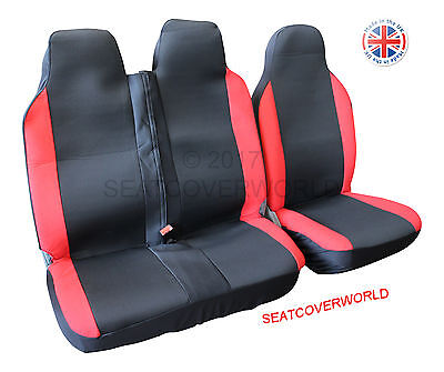 Ford Transit - Black/red Deluxe Van Seat Covers - Single + Double