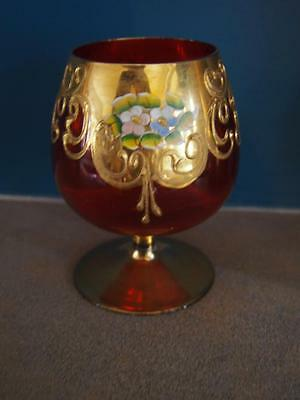 Pretty Vintage Hand Painted Red/Cranberry Brandy Glass Flowers Gold Detail Czech