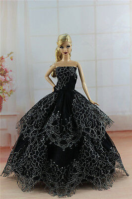Black Fashion Princess Dress Wedding Clothes/Gown For 11.5in.Doll S289