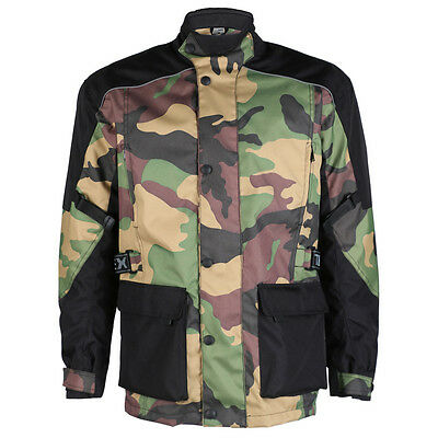 Black & Green Army Camouflage CE Armoured Waterproof Motorcycle Jacket Camo