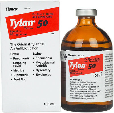 Tylan 50 Tylosin Injection for Cattle and Swine 100 ml