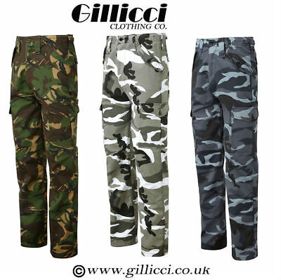 Mens Casual Workwear Camoflauge Camo Wodland Outdoor Army Combat Trousers Pants