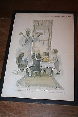Vintage Framed Cream of Wheat Advertising - 1916 - The Reception Committee
