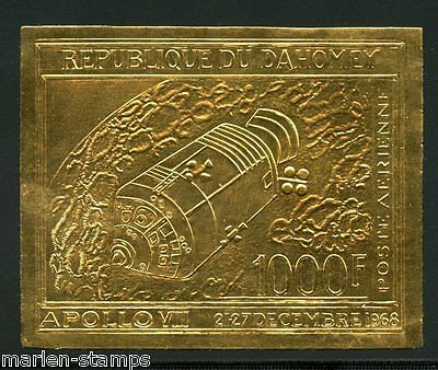 Dahomey  Apollo  Viii  Gold Foil Stamp Imperf Scott#c102 Imperf Mint Nh