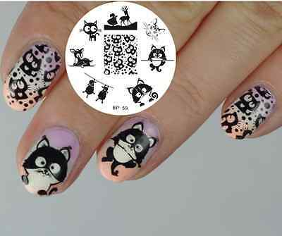 Born Pretty Nail Art Stamping Plate Cat Deer Sheep Image Template Bp