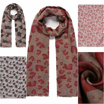 Ladies Double sided hearts and polka dot print long scarf
