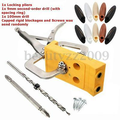 Woodworking Pocket Hole Jig Hole Drill Guide Locator Kit With Clamp + Step Drill