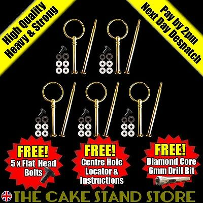 5 x Metal Gold Round 2/Two Tier Cake Stand Centre Handle Sets with Fittings