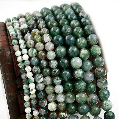 "Natural Aquatic agate Gemstone Round Loose Spacer Bead 16"" Strand 4/6/8/10mm DIY"