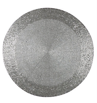 Silver Beaded Round Placemat BL-GW815-00-SV