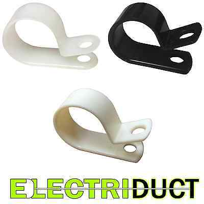 "Heavy Duty Plastic Nylon Cable Clamps - 0.25"" to 1.5"" - White - Black - Beige"