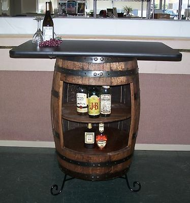 White Oak Whiskey Barrel Bar-Table-Cabinet With Wrought Iron Stand