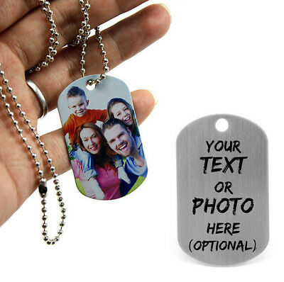 Personalised Engraved Photo/Text Stainless Steel Army Dog Tags ID Tag Gift