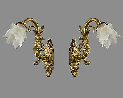Figural Ornate Wall Sconces c1910 Gilded Bronze Figural Gold Gilt Period Restore