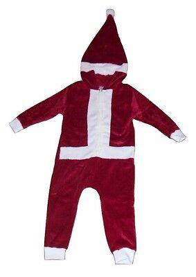 Unisex Boys & Girls Christmas Santa Sleepsuit All In One Pyjamas Fleece