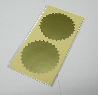 45 mm Gold Serrated Certificate Seals Labels Awards  Embossing Stickers x 24pcs