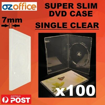 BRAND NEW 100 x 7mm SUPER SLIM THIN DVD Case SINGLE CLEAR Slimline DVD Cover