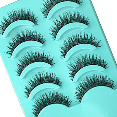 5 Pairs Makeup Handmade Pretty Long Thick Cross False Eyelashes Eye Lashes top