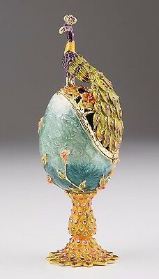 Faberge Egg with Peacock by Keren Kopal trinket box Austrian crystals