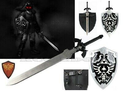 FULL SIZE Black Zelda Link's Hylian Shield & Master REAL RAZOR SWORD Combo Set