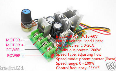 new max a pwm dc motor stepless variable speed switch controller 1200w dc motor speed controller 12v 48v power drive module pwm controller 20a