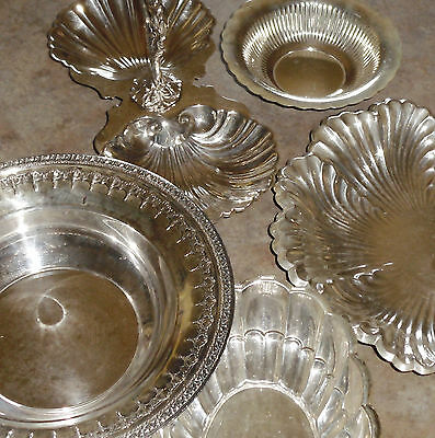 5 Silver Plate Serving pcs -Bowl, Dish, Tid Bit w Handle &More -Towle Sheffield+