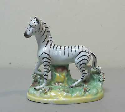 Antique Staffordshire Pottery Zebra Figurine, Sieved-Clay Decoration