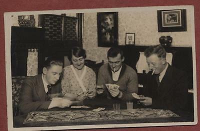 Family playing cards vintage postcard   qp1104