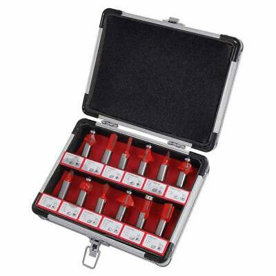 """12 Piece 1/2 """" Shank Router Bits Set in Aluminium Case - dovetail cove ogee"""