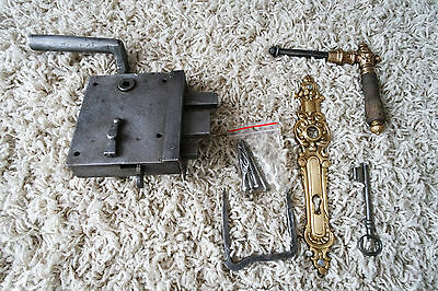 Vintage / antique beautiful large metal door lock with key,handle working order