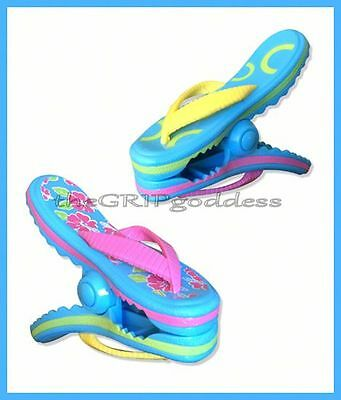 "Boca Clips® Flip Flop Beach Pool Boat Camping Cruise Towel Holder Set ""new"""