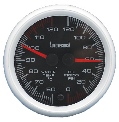 Water Temperature and Oil Pressure Dual Gauge with 60mm Cup 4WD Autotecnica