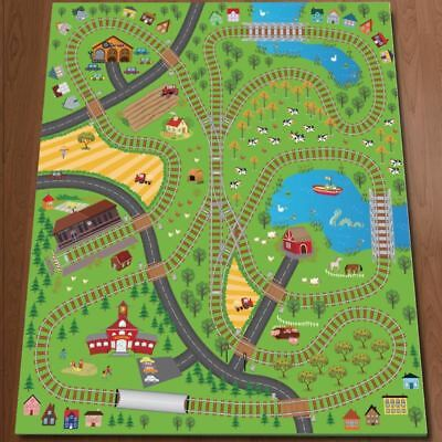 Giant Kids Railway Playmat Trains Cars Play Village Farm Road Carpet Rug Toy Mat